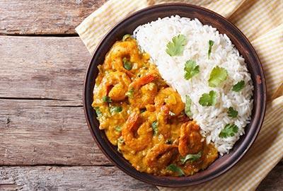 Garnelen-Curry mit Reis